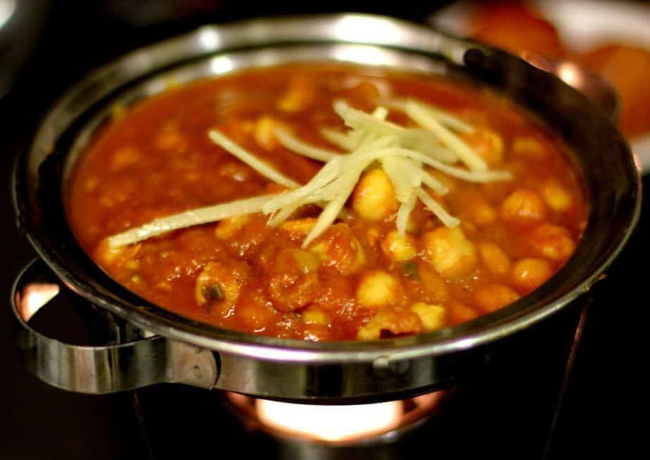 Garbanzo beans cooked delicately with fresh onions, ginger and spices