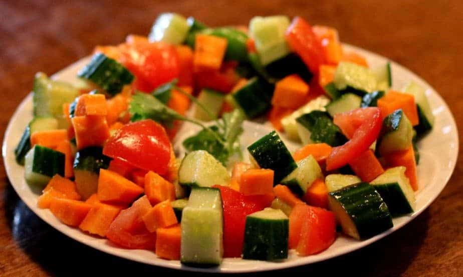 cucumbers, onions, tomatoes and bell-peppers tossed in a spiced lime dressing
