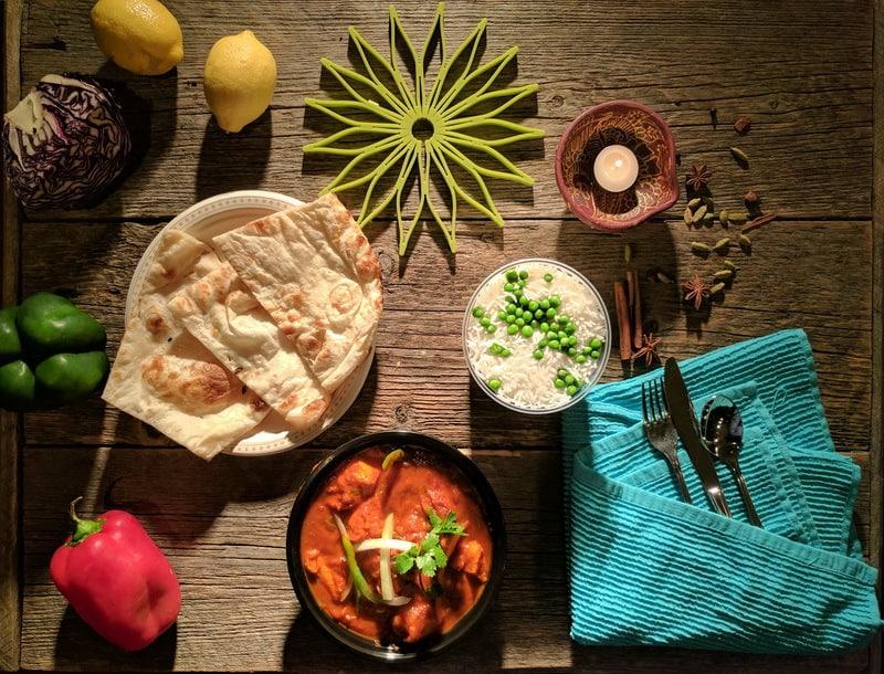 Chicken Jalfraize, Tandoori Naan and Basmati Rice