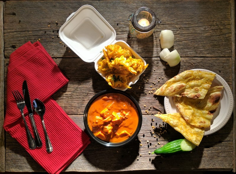 Butter Chicken with Tandoori Naan and Basmati Rice