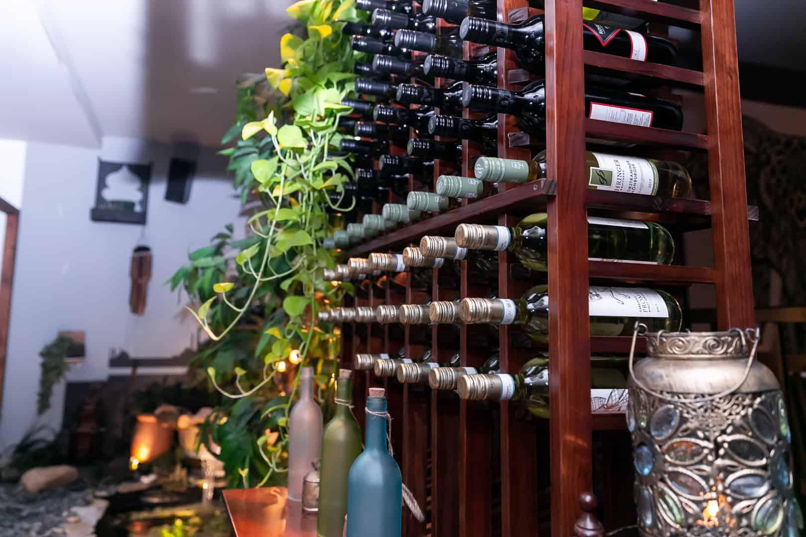 wine rack inside a restaurant on commercial drive