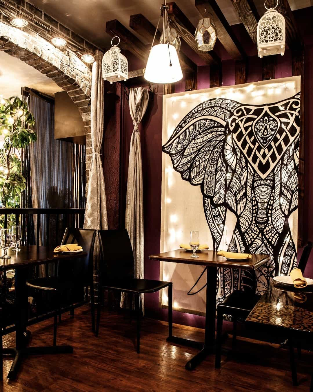 Elephant Print Interior decor Indian restaurant