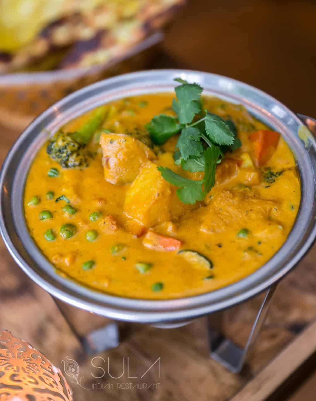Vegan Vegetable coconut served at sula Indian restaurant