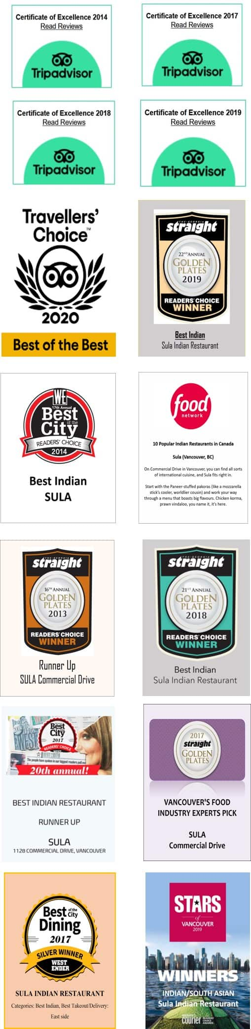 Sula Indian Restaurant Awards