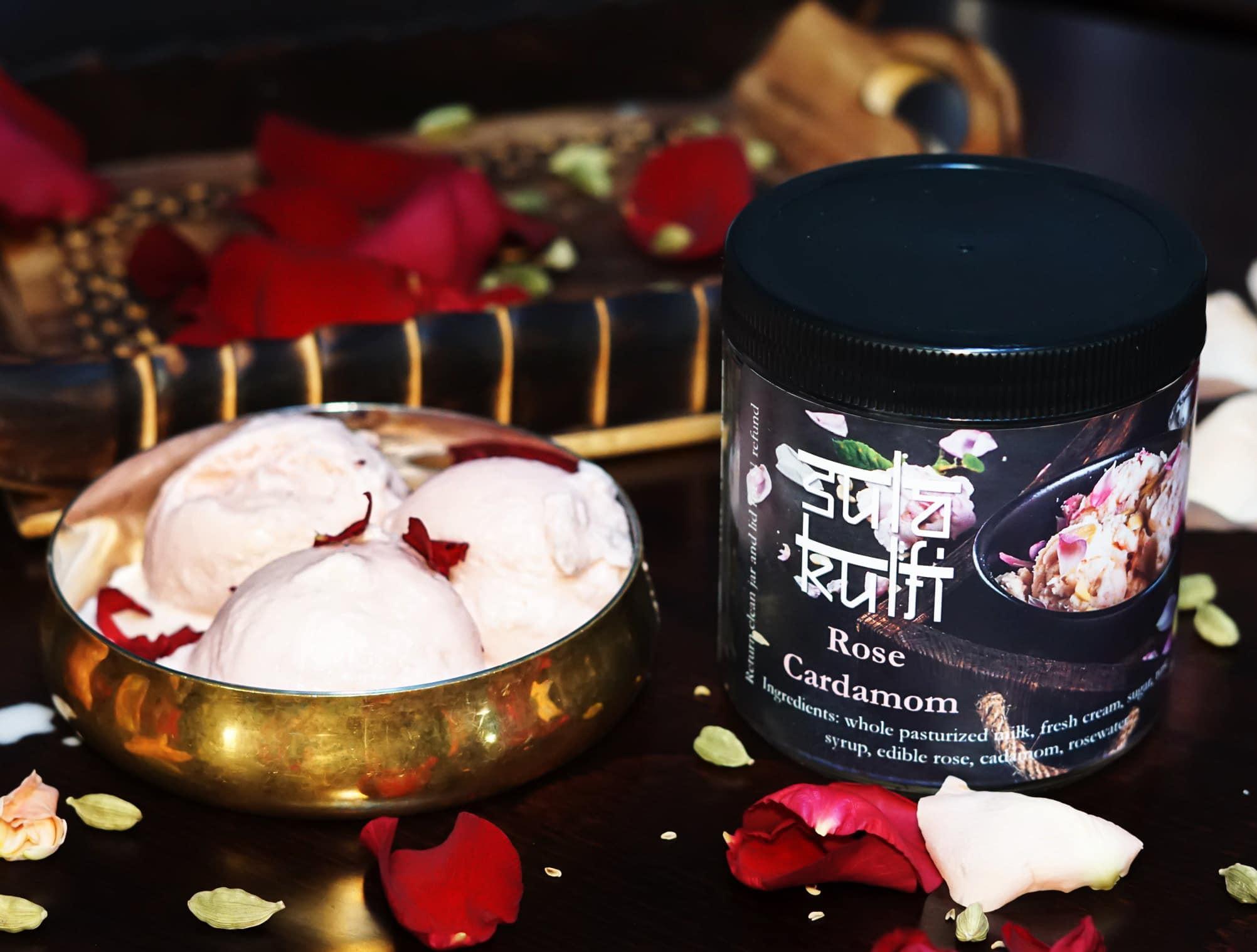 Rose Cardamom Kulfi Ice-cream